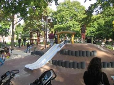 "Some child development experts now advocate for playgrounds incorporating ""loose parts,"" like those at the Alexander W. Kemp Playground at Cambridge Common."
