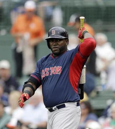 Boston Red Sox designated hitter David Ortiz prepares to bat during the first inning of a spring exhibition baseball game against the Baltimore Orioles in Sarasota, Fla., Monday, March 24, 2014. (AP Photo/Carlos Osorio)