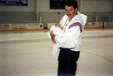 A hockey fan, Guy Gaudreau had his son Johnny (here one month old) on the ice early.