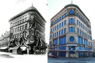 The Ferdinand Building, in 1911 and a century later, when it had fallen on hard times. But change is coming.