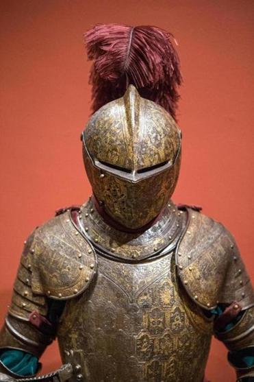 A 1590 field armor on display in the Knights! exhibit at the Worcester Art Museum.