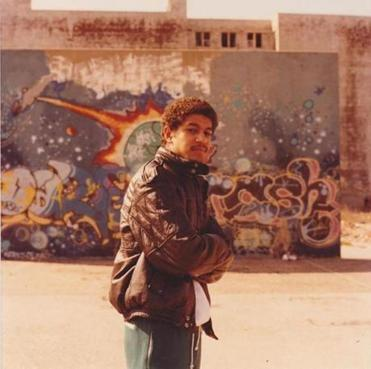 Daze, pictured n 1983, during his street-artist days. Now, as artist in residence at Phillips Academy's Addison Gallery of American Art, he's been working with students on a mural at the academy.