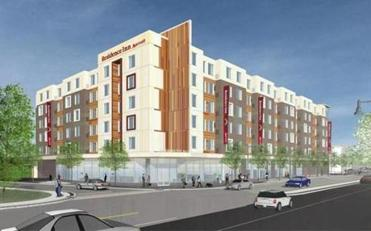 Rendering of the proposed Marriott Residence Hotel on Arsenal Street in Watertown.