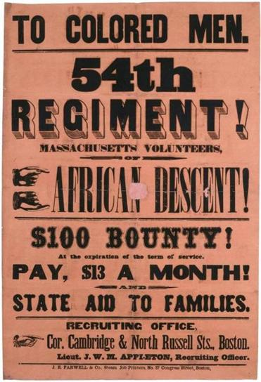 An artifact of the Civil War period, a recruitment poster for the Massachusetts regiment.