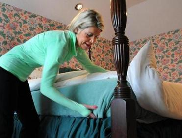 Vicki Donlan of Hingham has to make her bed and tidy up in the morning, just like her mother did.