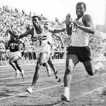 Frank Budd (right) set a record in the 100-yard dash in 1961. His time was 9.2 seconds.