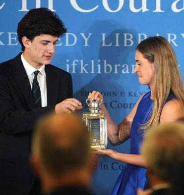 Jack Schlossberg, grandson of President Kennedy, gave the award to Lauren Bush, granddaughter of President George H.W. Bush, at the Kennedy library in Dorchester.