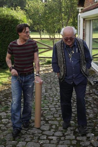 Johnny  Depp with Ralph Steadman at Steadman's home in England.