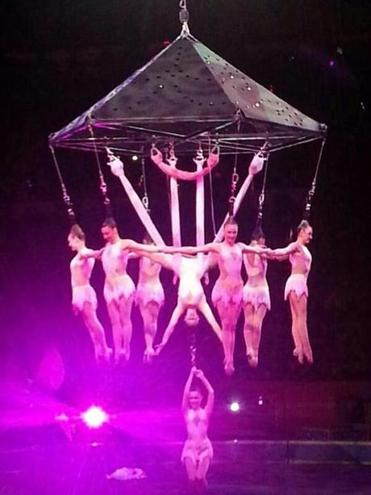 The performers are seen during a stunt on Friday.