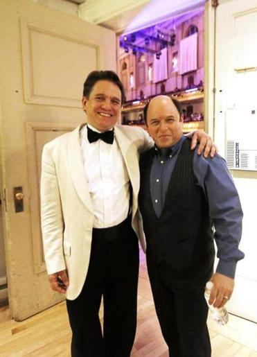 Pops conductor Keith Lockhart and Jason Alexander backstage.