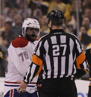 P.K. Subban spoke with a referee after Shawn Thornton sprayed water on him.
