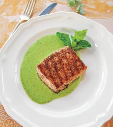Grilled king salmon with English peas and mint.