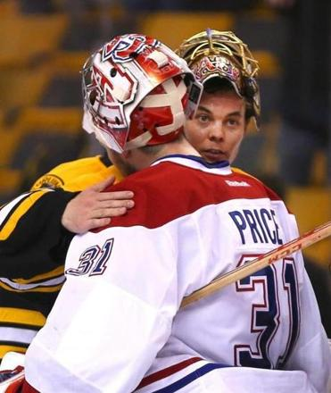 The series over, Bruins goalie Tuukka Rask has a pat on the shoulder for his Canadiens counterpart, Carey Price, who allowed only one goal over the final two games.