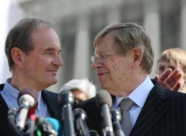 Attorneys David Boies and Ted Olson talked to the media after oral arguments at the Supreme Court in 2013 in Washington, D.C., after the high court heard arguments in California's Proposition 8 case.