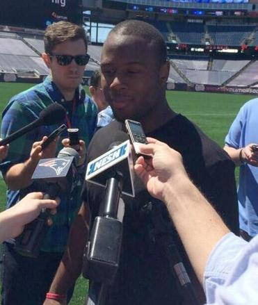Patriots rookie James White met with reporters on Tuesday.