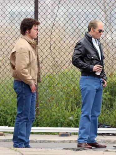 "Above: Jesse Plemons (left) with ""Black Mass"" costar Johnny Depp. Top right: Vintage cars in East Boston. Right: ""Grey Lady"" director John Shea."