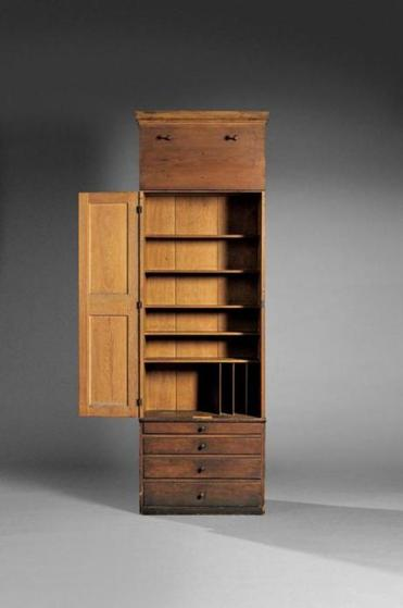 Circa 1840 Mount Lebanon schoolhouse cupboard and case of drawers will be offered with a $60,000-$80,000 estimate at Skinner's auction of the Andrews Shaker Collection.  One of few surviving Shaker pails, this circa 1855 yellow-painted pail from Canterbury, N.H., has a $2,500-$3,500 estimate. Art Deco platinum brooch set throughout with old European-cut diamonds weighing 6.50 carats will be offered with an $8,000-$10,000 estimate at Skinner's Fine Jewelry