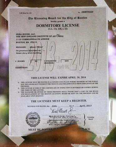 The expired dormitory license, as seen in the lobby of 1110 Commonwealth Ave.