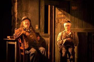 "Pat Shortt and Daniel Radcliffe (right) in ""The Cripple of Inishmaan."""
