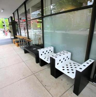 Furniture on display outside.