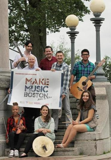 Front row (from left): musician Aaliyah Clark; Make Music Boston coordinator Maria Finkelmeier; musician Kate Diaz. Back row (from left): musician Matthew Connor; David Lapin, executive director of the Community Music Center of Boston; vocalist Barney Carney; Veljko Petrickovic of Cambridge Global Arts; and musician Joe Deauna.