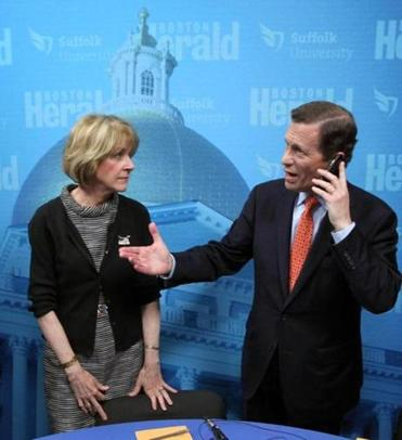 Massachusetts Democratic gubernatorial hopefuls Steve Grossman (right) and Martha Coakley.