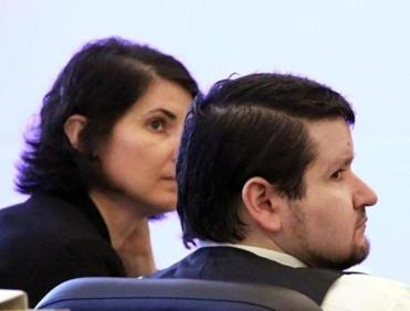 Seth Mazzaglia (right) and his attorney, Melissa Davis,  at the trial on Monday.
