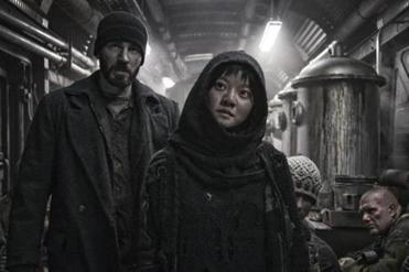 Chris Evans and Ko Ah-sung in the 2013 film SNOWPIERCER, directed by Bong Joon-ho.