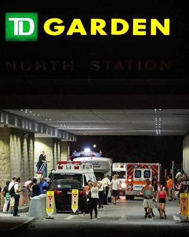 Ambulances lined up outside of the TD Garden.