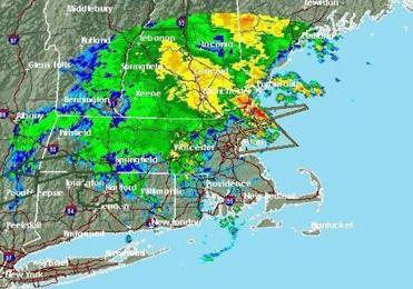 Radar showed a fast-moving storm that hit Boston Thursday night.