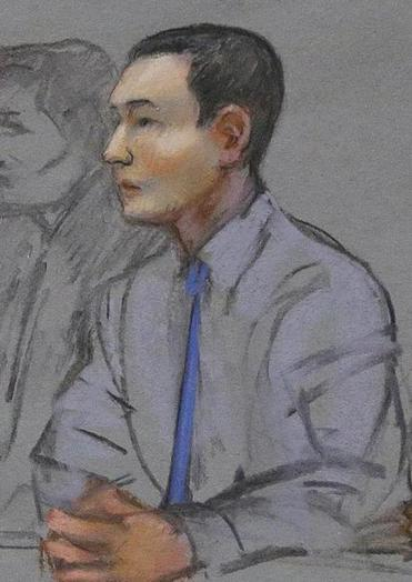 In this file courtroom sketch, defendant Azamat Tazhayakov, a college friend of Boston Marathon bombing suspect Dzhokhar Tsarnaev, sat during a hearing in federal court in Boston.