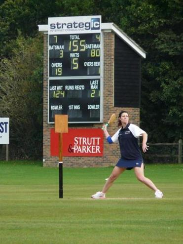 Annaliese West (Fordcombe, Kent), here playing for the Stoolball England President's XI.