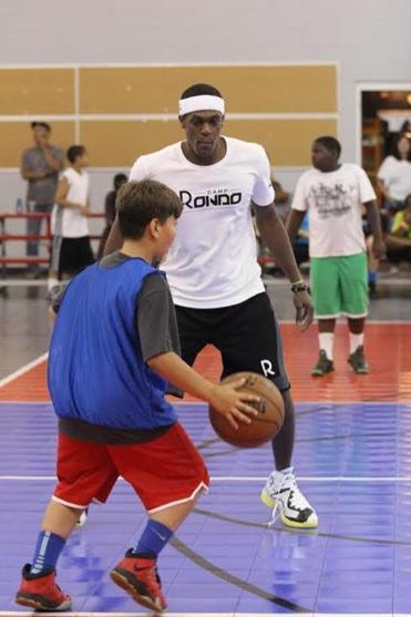 Rondo likes to jump into games with the campers.
