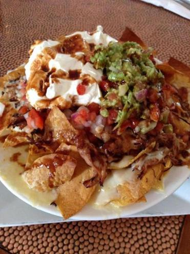 The Farm Bar and Grille's BBQ Nachos, with house-made tortilla chips.