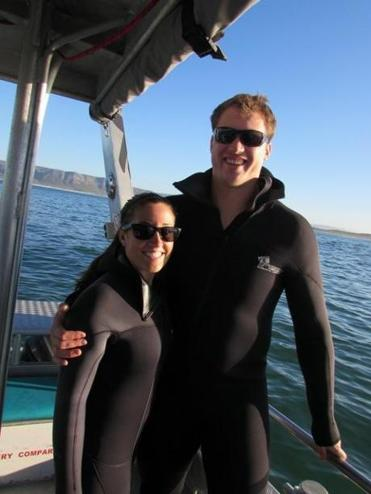 Nate Solder and Lexi Allen are dressed to go shark diving on their South African adventure.