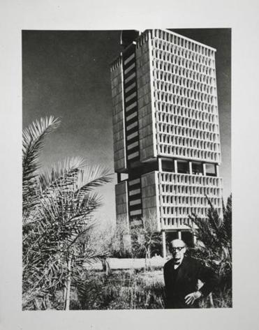 A MAN, A PLAN: Walter Gropius in front of his Baghdad faculty tower.