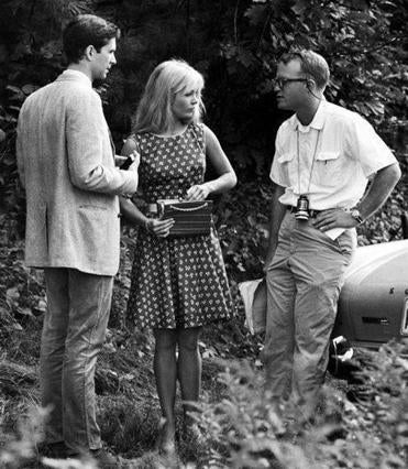 "Anthony Perkins, Tuesday Weld, and Mr. Black on the Massachusetts set of ""Pretty Poison."""