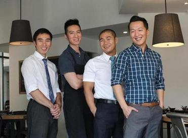 Cambridge, MA., 09/05/14, The chef owners, left to right, Tony Liang, PeterTse, Jimmy Liang, Ming Cao, cq. For the Cheap Eats feature, we feature Shabu & Mein. Suzanne Kreiter/Globe staff (The Boston Globe.