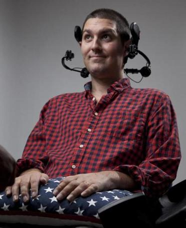 12/5/2014 - Beverly, MA - Pete Frates, cq, who is immobilized by ALS, inspired the Ice Bucket Challenge. Topic: 122114BOTY. Dina Rudick/Globe Staff.