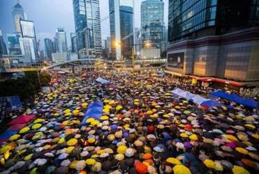 Demonstrators opened their umbrellas for 87 seconds on Oct. 28, 2014, marking the 87 rounds of tear gas the Hong Kong police fired at unarmed student protesters in the same location the previous month.