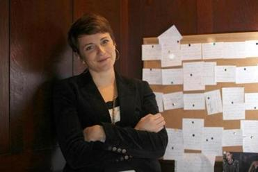 Writer-in-Residence fellow Natalie Coward Anderson has plotted her novel on index cards in her office at the Boston Public Library.