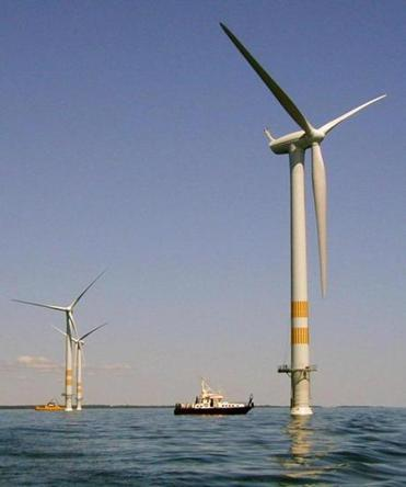 An artist's conception of the proposed Cape Wind energy producing wind farm.