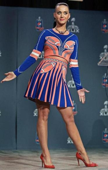 Katy Perry, who will headline the halftime show, spoke at a press conference in Phoenix on Jan. 29.