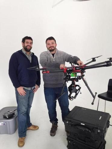 David Avery and Jovan Tanasijevic of the Somerville photography firm Above Summit, with an eight-rotor drone made by DJI. It sells for about $2,300.