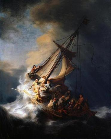 "Full frame of Rembrandt's ""The Storm on the Sea of Galilee."""