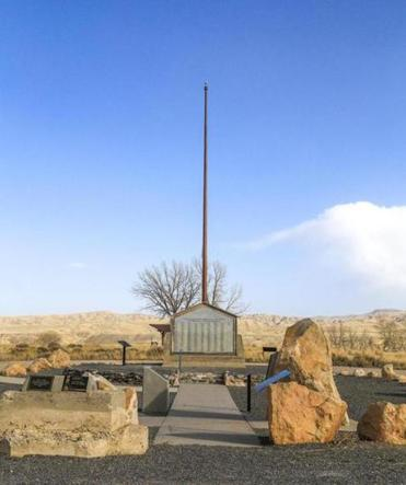 The war memorial in Powell, Wyo., lists the names of Heart Mountain internees who served with the US military during World War II.