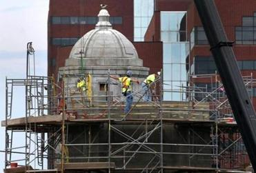 Crews worked on one of the Longfellow Bridge's towers in May.