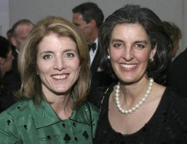 Caroline Kennedy Schlossberg, left, with Heather Campion, library foundation CEO Heather Campion. The two are personally close.