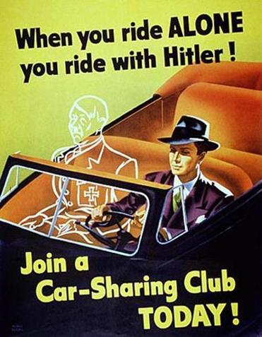 This anti-Nazi propaganda poster encouraged US citizens to conserve gasoline during World War II.
