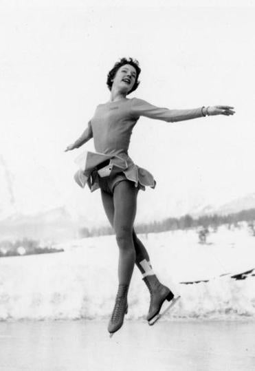 Albright took a practice leap before competing in the 1956 Winter Olympics in Cortina, Italy.